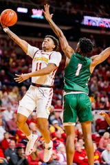 Prentiss Nixon of Iowa State drives to the basket during a game against Mississippi Valley State University in Ames Tuesday, Nov. 5, 2019.