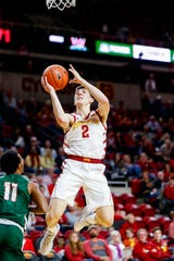 Caleb Grill of Iowa State drives to the basket during a game against Mississippi Valley State University in Ames Tuesday, Nov. 5, 2019.