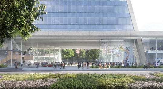 """Rendering shows a view of the planned University of Michigan Detroit Center for Innovation that will be built on the """"fail jail"""" site off Gratiot in downtown Detroit."""