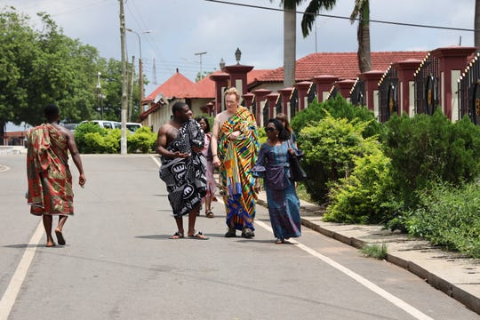 Sam Richardson and Conan O'Brien wear traditional kente cloth apparel of Ghana in 'Conan Without Borders: Ghana' special on TBS.