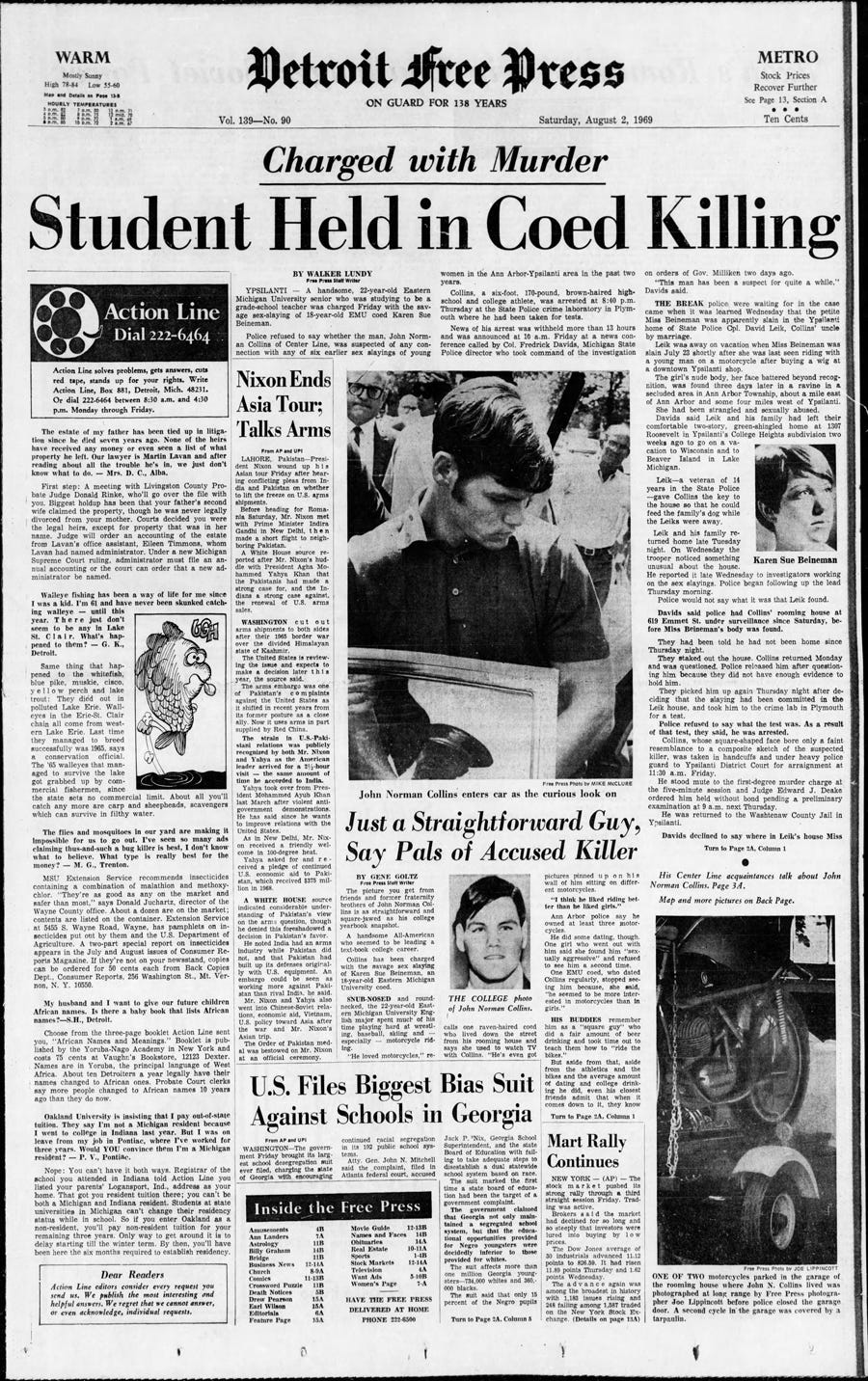Detroit Free Press, published front page from Aug. 2, 1969.