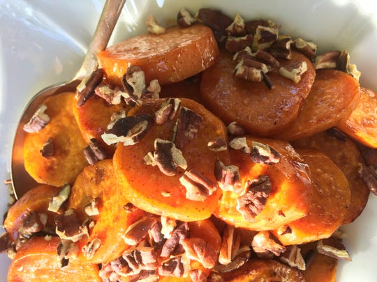 Orange-glazed Roasted Sweet Potatoes with Pecans