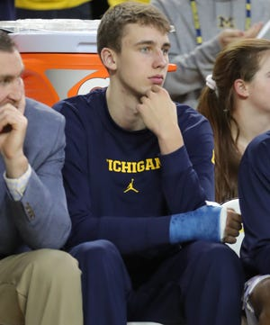 Michigan's Franz Wagner watches action against Appalachian State, Tuesday, November 5, 2019 at the Crisler Center.