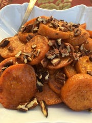 Orange-glazed Roasted Sweet Potatoes with Pecans