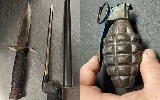 Federal officials said someone tried to get through security at Seattle Tacoma Intenrational Airport on Oct. 12 with an empty grenade and two knives in a carry-on bag.