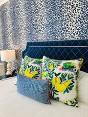 This navy blue, leopard-inspired pattern is one of four room motifs at The Mackinac House on Mackinac Island