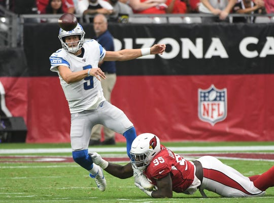 """Matthew Stafford on his no-look passes: """"I'm not, like, working on that in the offseason or anything. It's more just feeling it in the game, trying to see as much as I can possibly see, and then obviously try to get the ball to our guys in space and let them go work."""""""