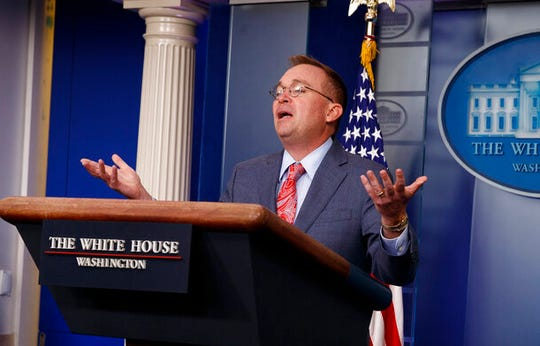 White House chief of staff Mick Mulvaney speaks to the press in this Thursday, Oct. 17, 2019, file photo.