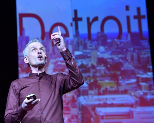 Rob Paulsen, voice actor behind cartoon characters from Pinky and the Brain, Animaniacs and Teenage Mutant Ninja Turtles, talks to the crowd at TEDxDetroit Wednesday at the Masonic Temple.
