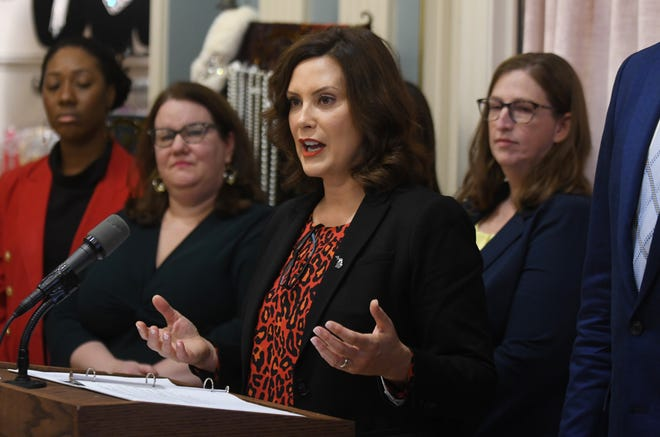 Gov. Gretchen Whitmer holds a news conference in Detroit in this October 24, 2019, file photo.