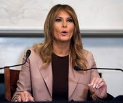 In this Wednesday, Oct. 23, 2019 file photo first lady Melania Trump participates in a roundtable discussion on the opioid crisis, on Capitol Hill in Washington.