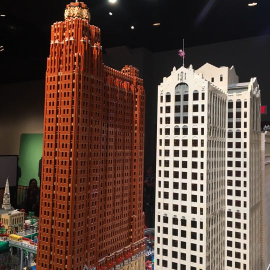 """Towers of Tomorrow,"" up through Jan. 5, even tackles Detroit's Guardian Buildilng (left) and the Buhl Building."