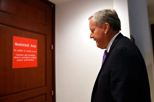 Rep. Mark Meadows, R-N.C., heads into the restricted area on Capitol Hill in Washington, Wednesday, Nov. 6, 2019, where the interviews for the impeachment inquiry are being held.