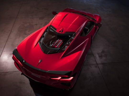 Passersby will get an eyeful of the Corvette C8's all-new 6.2-liter V-8 LT2 engine through the rear glass.