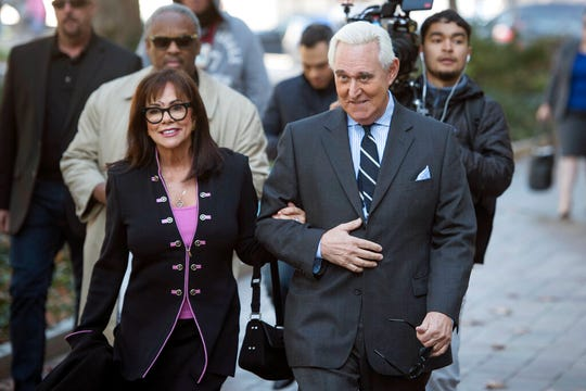 Roger Stone and his wife Nydia arrive at Federal Court for the second day of jury selection for his federal trial, in Washington, Wednesday, Nov. 6, 2019.