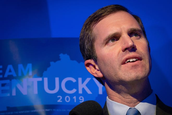 Democratic gubernatorial candidate and Kentucky Attorney General Andy Beshear speaks at the Kentucky Democratic Party election night watch event, Tuesday, Nov. 5, 2019, in Louisville, Ky.