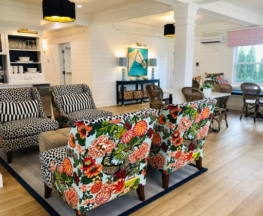 Bold patterns in vibrant colors greet gues in the lobby of The Mackinac House, which opened in July on Mackinac Island