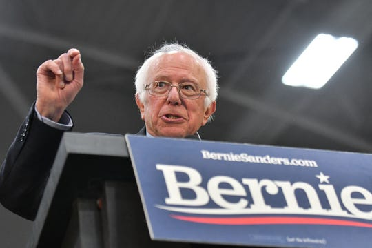 Senator and Democratic presidential candidate Bernie Sanders speaks at a campaign rally at Cass Tech High School in Detroit on Sunday, Oct. 27, 2019.