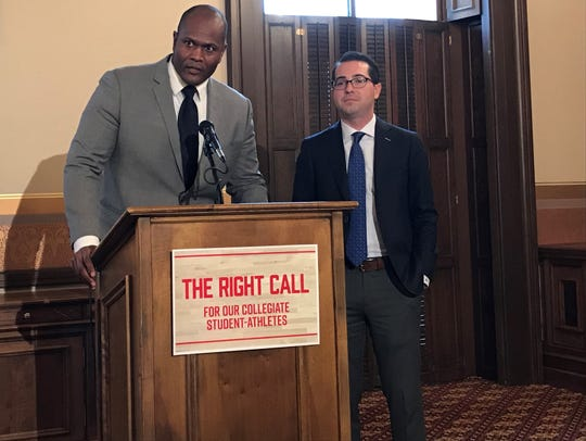 From left, Rep. Joe Tate, D-Detroit, and Rep. Brandt Iden, R-Oshtemo Township, announced legislation Wednesday, Nov. 6, 2019, that would allow college athletes to benefit from the use of their names, images or likenesses.