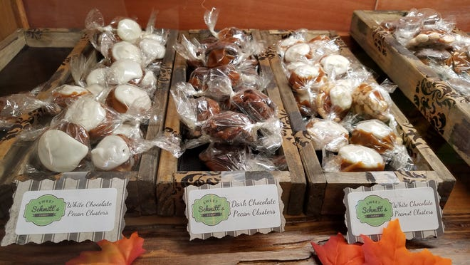 Nut clusters are available in peanut, pecan and cashew with white, milk or dark chocolate every day at Sweet Schmitt's Candy.