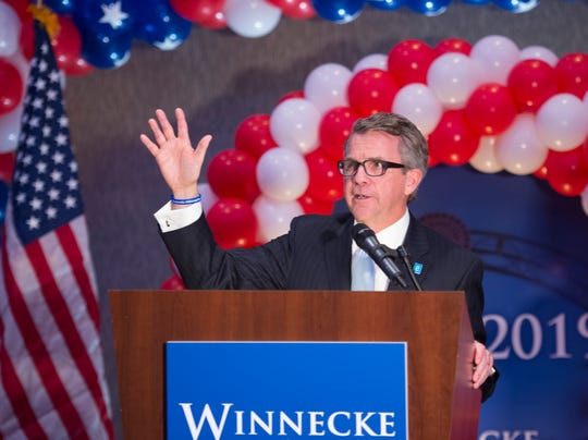 Evansville Mayor Lloyd Winnecke addresses the crowd during the republican watch party at the Doubletree by Hilton in Downtown Evansville, Ind., Tuesday evening, Nov. 5, 2019. Winnecke earned 8o percent of the votes making him Mayor for a third consecutive term.