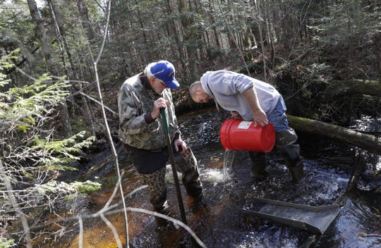 Jason Kelter, right, of Abrams. and his father, Roger, mine for flour gold in a creek near Silver Cliff.