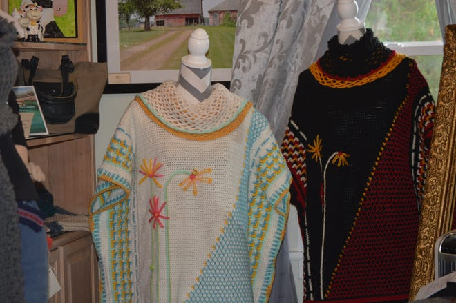 Crocheted shawls by Pat Bell, owner of The Downstairs Attic gallery and gift shop in rural Luxemburg and co-organizer of the Lake to Bay Spring Shop Hop taking place June 11 to 13 at 29 shops in Kewaunee County and Northeast Wisconsin.