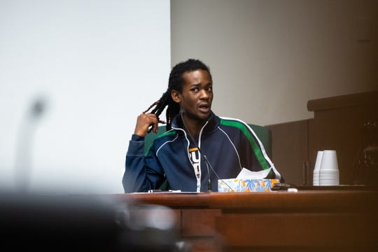 Jaikario Poole testifies Tuesday, November 6, 2019, during the trial of Anthony Mays and Shayheem Rice for their involvement in 21-year-old Azaveon Cook's death and the shooting of Poole on April 2, 2017.