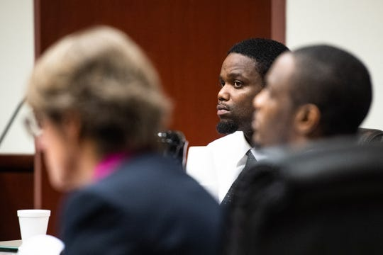 Anthony Mays sits with his attorney Randy Chambers and his co-defendant Shyheem Rice Tuesday, November 6, 2019, during their trial for murder and attempted murder in connection with 21-year-old Azaveon Cook's death and the shooting of another man on April 2, 2017.