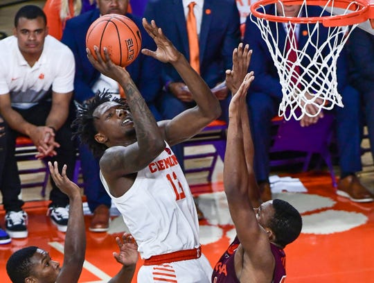 Clemson guard Tevin Mack(13) shoots against Virginia Tech during the second half at Littlejohn Coliseum Tuesday, November 5, 2019.