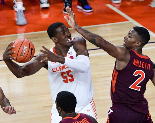 Clemson center Trey Jemison(55) shoots near Virginia Tech guard Landers Nolley II(2) during the second half at Littlejohn Coliseum Tuesday, November 5, 2019.
