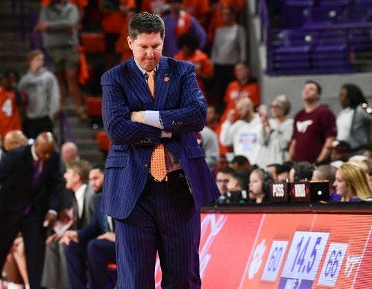 Clemson Head Coach Brad Brownell reacts with 14 seconds left in the second half at Littlejohn Coliseum Tuesday, November 5, 2019.