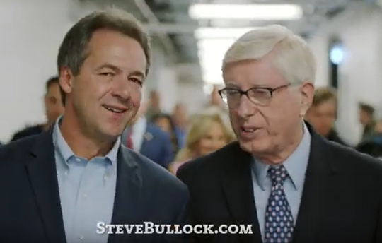 Gov. Steve Bullock, left and Iowa state Attorney General Tom Miller in the ad for Bullock's 2020 presidential campaign.