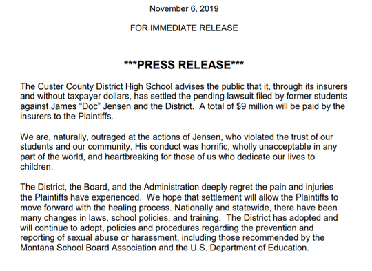 The Custer County District High School released this statement Wednesday.