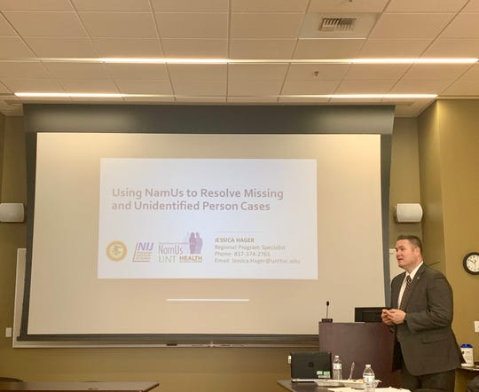Assistant U.S. Attorney and member of the Montana Missing Indigenous Persons Task Force Jared Cobell leads a training session on how to use the National Missing and Unidentified Persons System (NamUs) at the Blackfeet Community College.