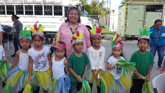 Mary Mafnas, dean of elementary school, Guahan Academy Charter School is pictured with the kindergarten students. Front row from left: Kelissa Hocog, Tasi Bumacod, Tristana Santos, Jose Shirai, Redsi Eaz, Avenina Aguon and KoeinJay Salas.