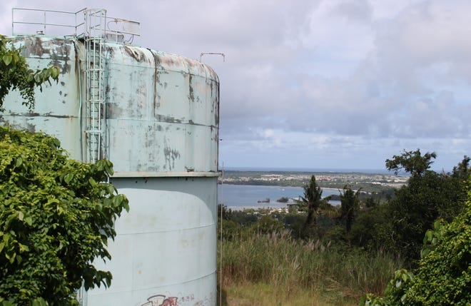 The one-million-gallon Santa Rita reservoir, as shown Nov. 6, will be replaced with a concrete reservoir, at a cost of $8.75 million, according to the Guam Waterworks Authority, which is trying to improve the reliability of water service. The project to replace several reservoirs will cost $26.4 million, and is funded with bond money from 2013 and 2016. AIC International has been contracted to build the new reservoirs. The timeline for completion of all projects is the spring of 2021.