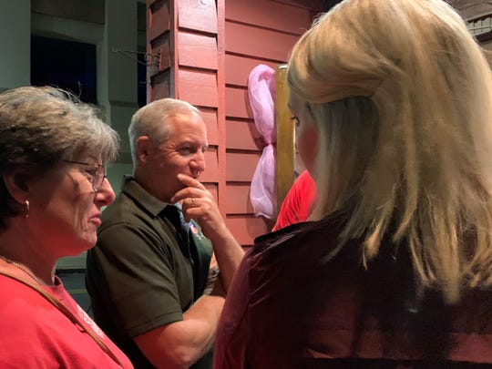 Charlie Sims talks to supporters outside Fairley's Wings and More after learning he won the Forrest County sheriff's race in the general election Tuesday, Nov. 5, 2019.