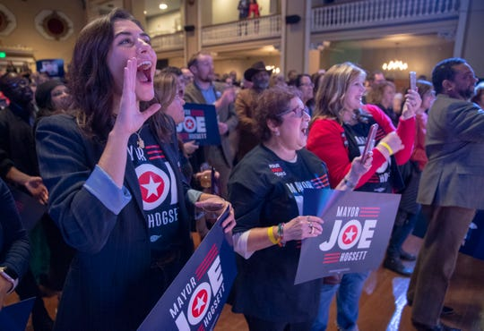 Natalie Van Dongen, left, cheers with other Joe Hogsett supporters at a Democrat election night party, Indianapolis, Tuesday, Nov. 5, 2019.