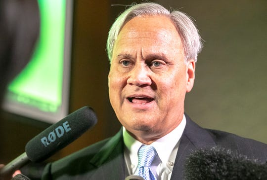 State Sen. Jim Merritt gives a concession speech at Prime 47 Steakhouse, Tuesday, Nov. 5, 2019, Indianapolis.