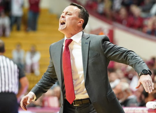 Indiana Hoosiers head coach Archie Miller yells at his team during the game against Western Illinois at Simon Skjodt Assembly Hall in Bloomington, Ind., on Tuesday, Nov. 5, 2019.