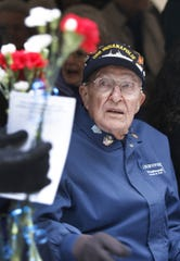 Art Leenerman, Mahomet, Ill., is one of the survivors of the USS Indianapolis that traveled to Indianapolis on Monday, December 7, 2009 for the dedication of a sculpture of crewmate James E. O'Donnell, 89, the sole survivor of the sinking of the USS Indianapolis from the City of Indianapolis.