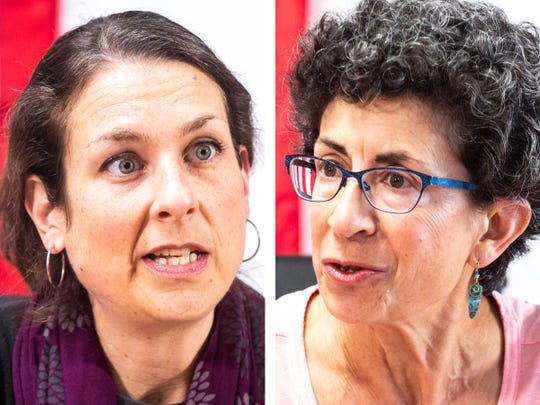 Iowa City Council candidates Laura Bergus, left, and Janice Weiner.