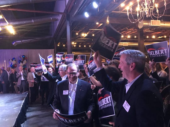 A crowd cheers at The South in downtown Jackson on Tues. Nov. 5, 2019 for Delbert Hosemann, who won the race for Mississippi lieutenant governor.