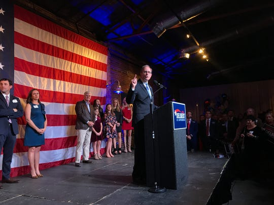 Delbert Hosemann gives a victory speech focused on education reform on Tues. Nov. 5, 2019 after winning the race for Mississippi lieutenant governor. Hosemann, a Republican, beat his Democratic opponent Jay Hughes with about 61% of the vote, preliminary results showed.