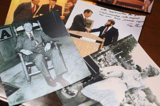 Greg Harkins of Tupelo keeps an album full of memories of the presidents who received his chairs: Jimmy Carter, Ronald Reagan, George H.W. Bush, Bill Clinton and George Bush Jr.  President Donald Trump received a rocking chair when he was in Tupelo for a rally on Friday, Nov. 1, 2019.
