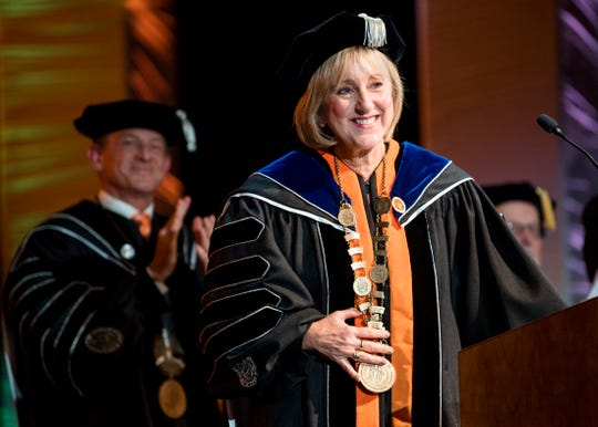 University of Tennessee Chancellor Donde Plowman smiles during the investiture at the UT Student Union Auditorium on Wednesday, Nov. 6, 2019.