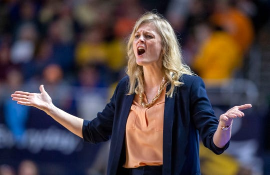 Tennessee coach Kellie Harper reacts to a call during the team's NCAA college basketball game against East Tennessee State on Tuesday, Nov. 5, 2019, Johnson City, Tenn.