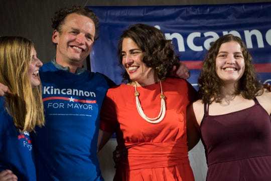Knoxville's next mayor Indya Kincannon poses with her family at her watch party at the Press Room in Knoxville, Tuesday, Nov. 5, 2019.