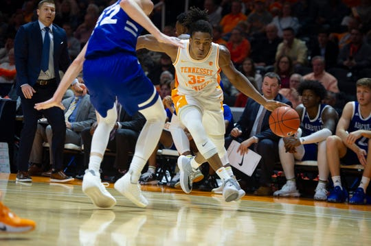 Tennessee's guard/forward Yves Pons (35) runs towards the paint during the first half of the University of Tennessee and UNC Asheville game on Tuesday, November 5, 2019 at Thompson-Boiling Arena.